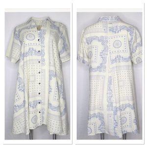 Current/Elliot Paisley Skirt Dress XXS Ivory Blue
